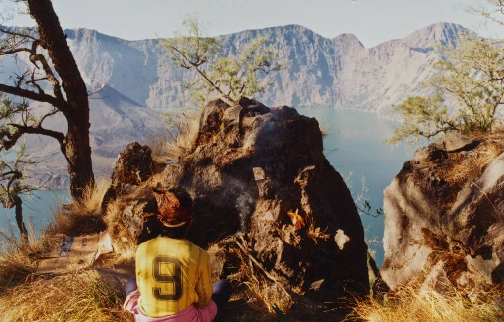 Placating the jinn rulers of the crater lake, inside Mt Rinjani 1997 Barb Dobson