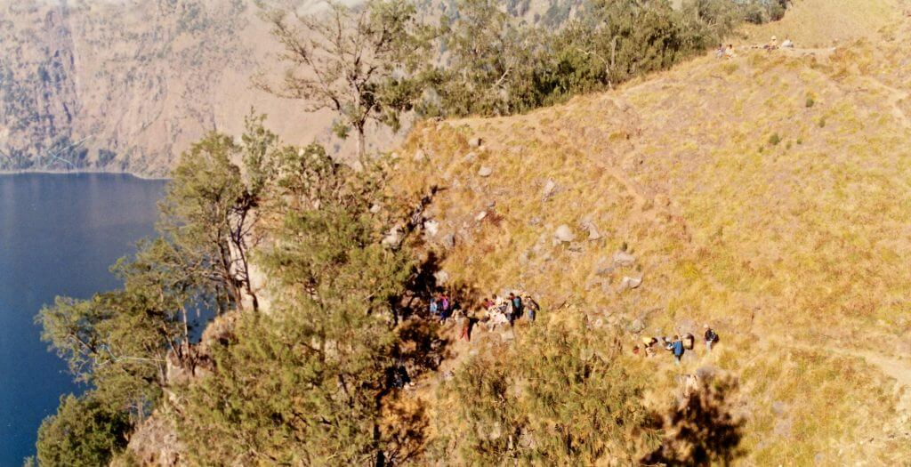 Treacherous pathways with steep ravines were part of the Rinjani trek 1997 Barb Dobson